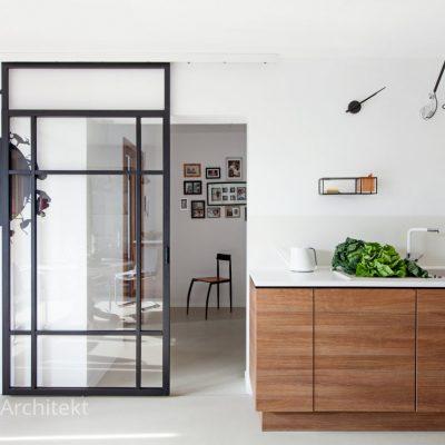 kuchnia przesuwane szklane drzwi Alicja Brzuska architekt
