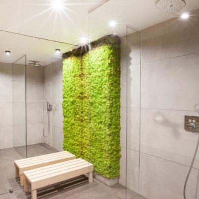 DS15 łazienka ściana z mchu deszczownica